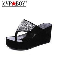 Mvp Boy Summer Womens Shoes Rhinestone Woman Flip Flops Wedged Platform Designer Beach Slippers Zapatos Mujer