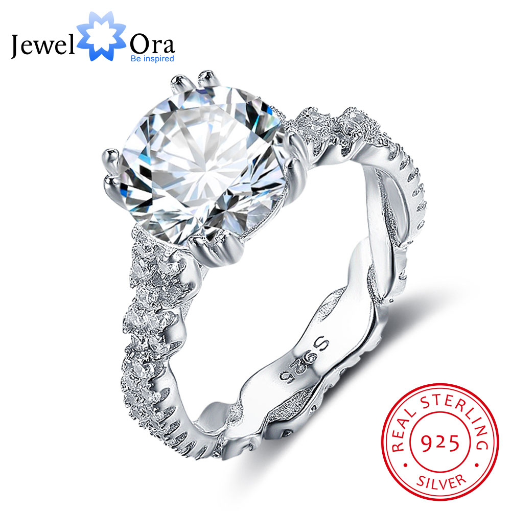 Δαχτυλίδι αρραβώνων 10mm 3.5 CT Hearts Arrows CZ 925 Sterling Silver Rings For Women Best Gift for Girlfriend (JewelOra RI102327)