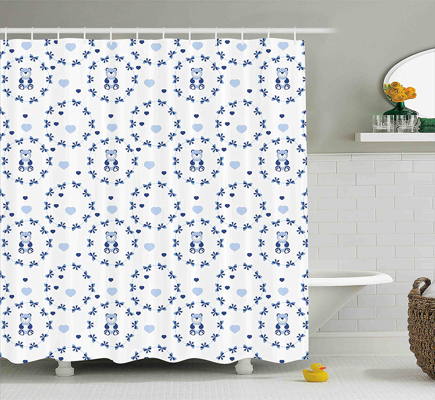 Us 17 42 30 Off Shower Curtain Ribbons Teddy Bears Children Hearts Art Fabric Bathroom Decor Set With Hooks Navy Blue Purple Grey White Decor In