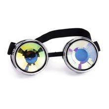 6430f3d87 LELINTA Hotselling Moda Desgin Estilo Punk Óculos de Lente Colorida  Kaleidoscope Rainbow Crystal Lentes Steampunk Goggle