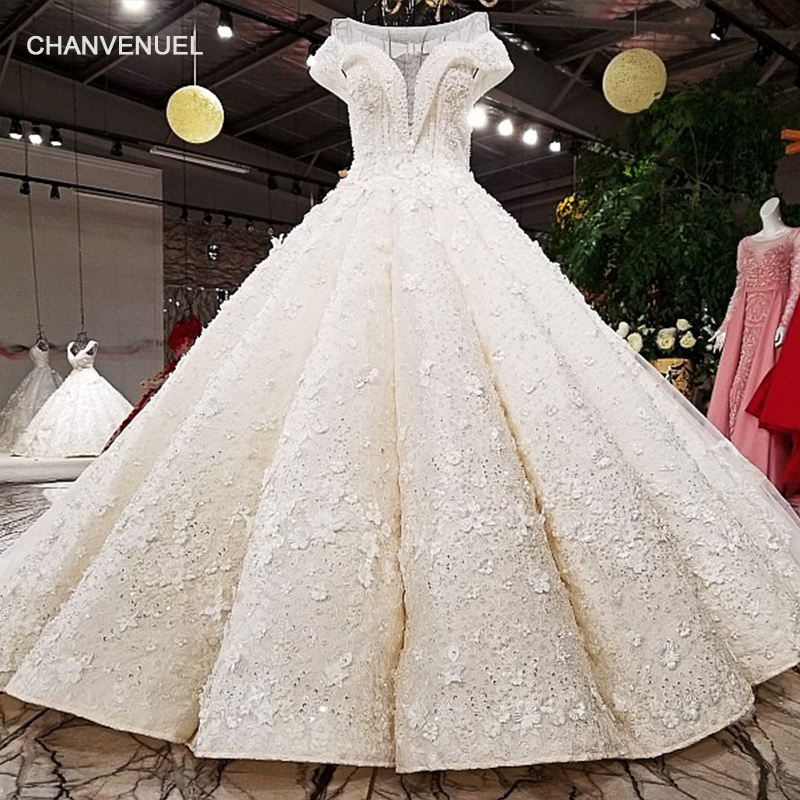 LS64130 luxury ball gown wedding dress o neck short sleeve lace up tulle back bridal wedding gown 2018 with long train as photos