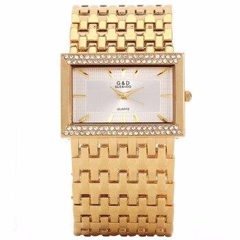 2018 G&D Golden Luxury Women's Bracelet Watches Quartz Wristwatch Rhinestone Ladies Dress Watches Relogio Feminino New Year Gift