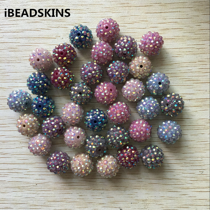 100Pcs/lot NEW 9 Color Mix 20mm AB Resin Rhinestone Chunky Beads