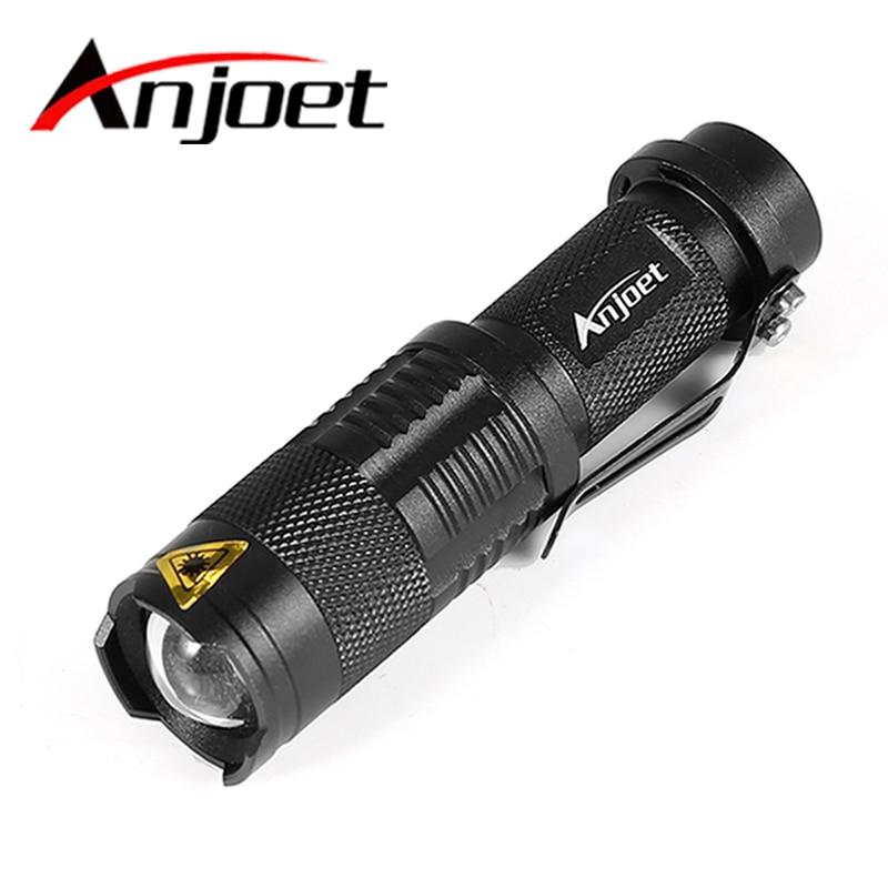 Anjoet LED Flashlight Q5 T6 L2 Mini Portable Torch Adjustable Zoom Flash Light Lamp Use 14500 And 18650 Battery For Bike Light