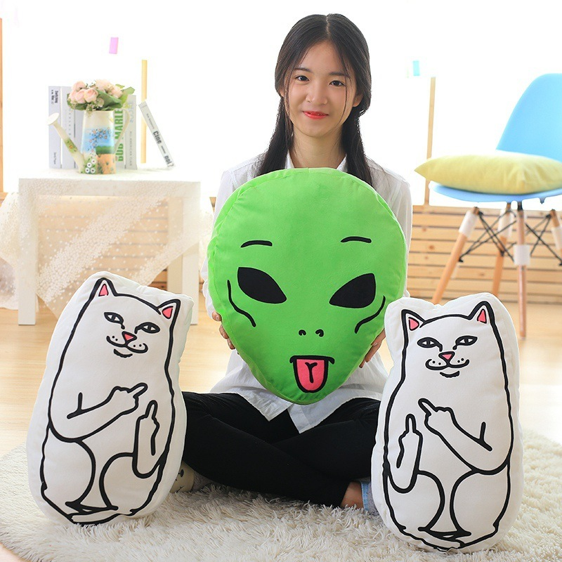 Super Cute 1Pc Cat Pillow Middle Finger Cat Cushions 46*36 cm Alien Cushion Plush Toys Kids Christmas Birthday Present Gift mysterious cartoon meow star cute cat cushion simulation decorative pillow