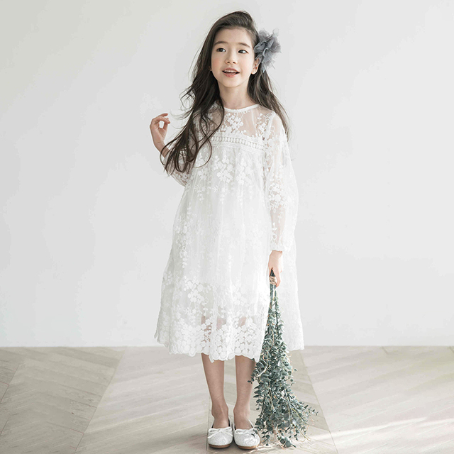 Girls Lace Dress Summer Princess Party Embroidery White Dress for Little Girl Size 10 11 12 14 years Teenage Clothes