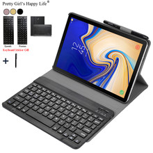 Case Voor Samsung Galaxy Tab S4 2018 10.5 inch SM T830 T835 Afneembare WiFi Bluetooth Toetsenbord Leather Cover Funda + pen Houder(China)
