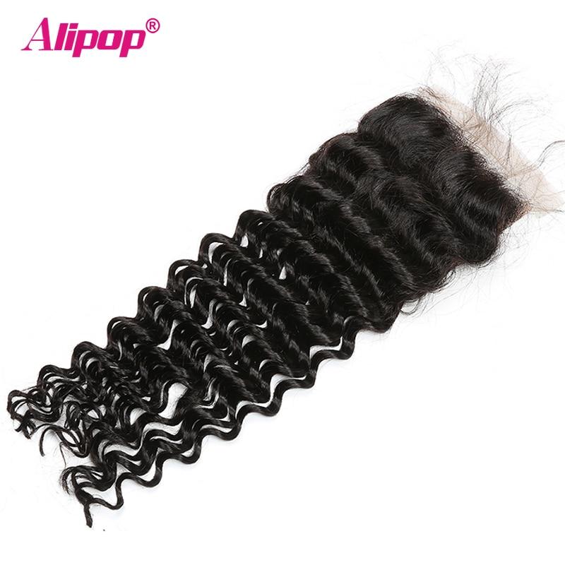 ALIPOP Peruvian Deep Wave Closure With Baby Hair Remy Hair 10 - 24 Inches Lace Human Hair 4x4 Closure Free Kim K Three Part (18)