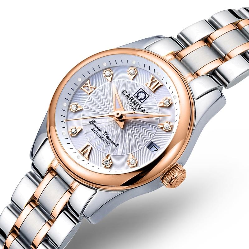 Saatler'ten Kadın Saatleri'de Karnaval Kadın Saatler en Lüks Marka bayanlar Otomatik Mekanik İzle Kadınlar Safir Su Geçirmez relogio feminino reloj mujer'da  Grup 3