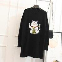 Focal20 Cute Cartoon Maneki Neko Women Sweater Lucky Cat Loose Long Knitted Sweater Jersey Outerwear
