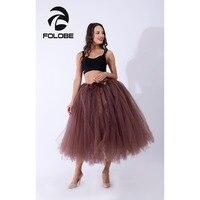 FOLOBE Handmade Brown Vintage Tulle Skirt Tutu Maxi Long Skirts Womens Slim High Waist Skirt Jupe Longue Skater Skirt
