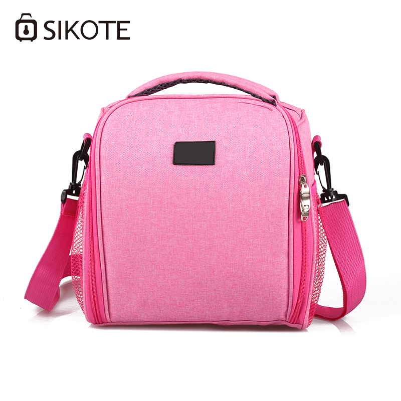 цены SIKOTE Portable Cooler Bag Insulation Lunch Box Solid Tote Bag Crossbody Picnic Bag Pink Black Blue Lancheira Termica Marmitas