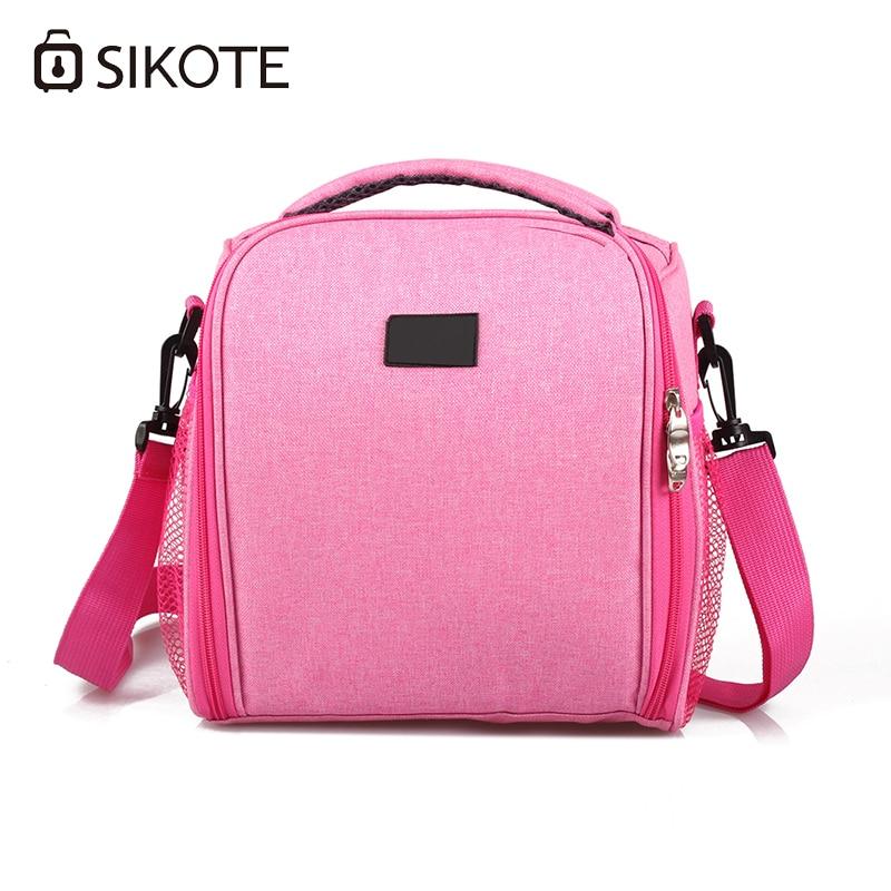 цены SIKOTE Portable Cooler Bag Insulation Lunch Box Solid Tote Bag Crossbody Picnic Bag Pink Black Blue Lancheira Termica Marmitas