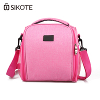 SIKOTE Portable Cooler Bag Insulation Lunch Box Solid Tote Bag Crossbody Picnic Bag Pink Black Blue