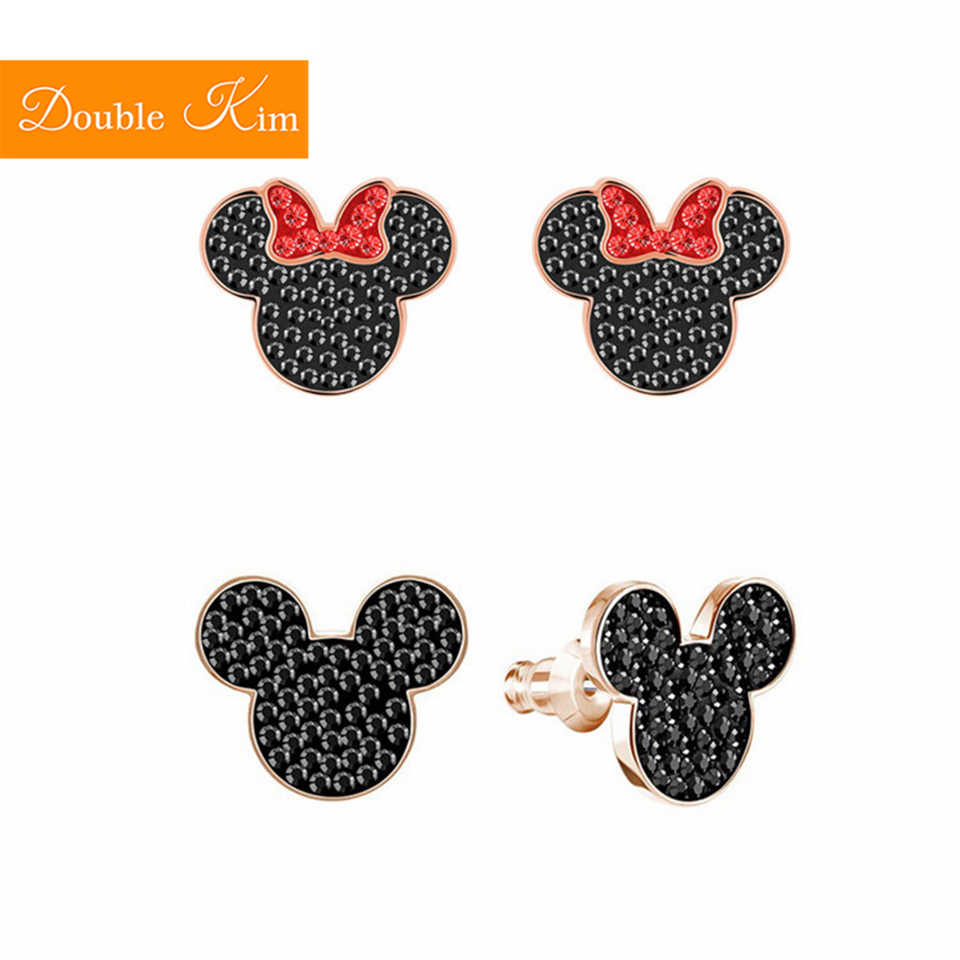 Mickey Minnie Mouse Stud Earrings Titanium Stainless Steel Inlaid Zircon Earrings Rose Gold Color Fashion Trendy Women Jewelry