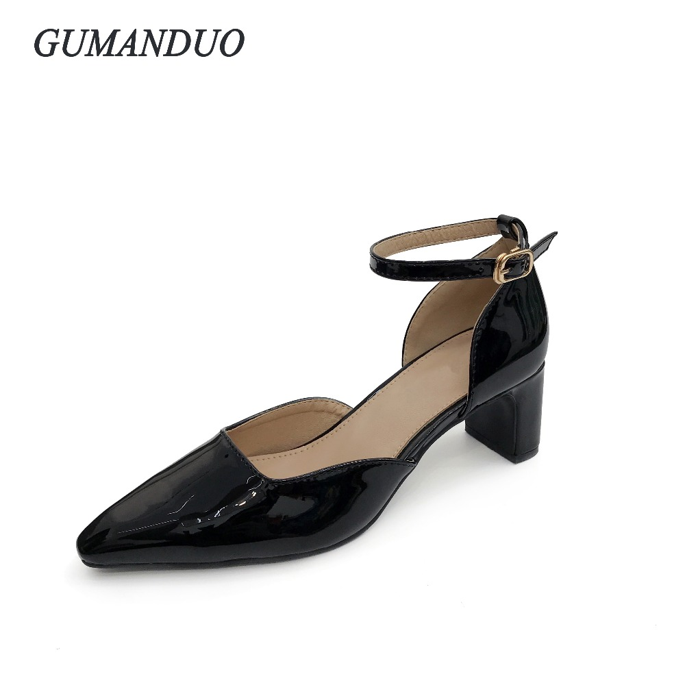 GuManDuo US5 9 Summer women s High heeled shoes Buckle Strap Patent Leather  Sandals Pointed Toe Pumps shoes woman Black Gray-in Women s Pumps from Shoes  on ... eccbf85b81d9