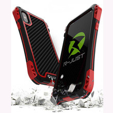 Aluminum Metal Silicone Case For iPhone XS Case 360 Full Shockproof Carbon Fiber Glass Armor Protection For iPhone X Max XR Case