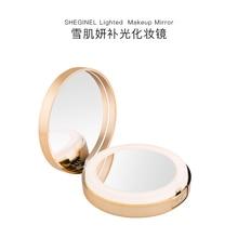 Портативное зеркало для макияжа с лампой портативный маленький зеркальный светодиодный светоизлучающий двухсторонний зеркальный макияж magnifie