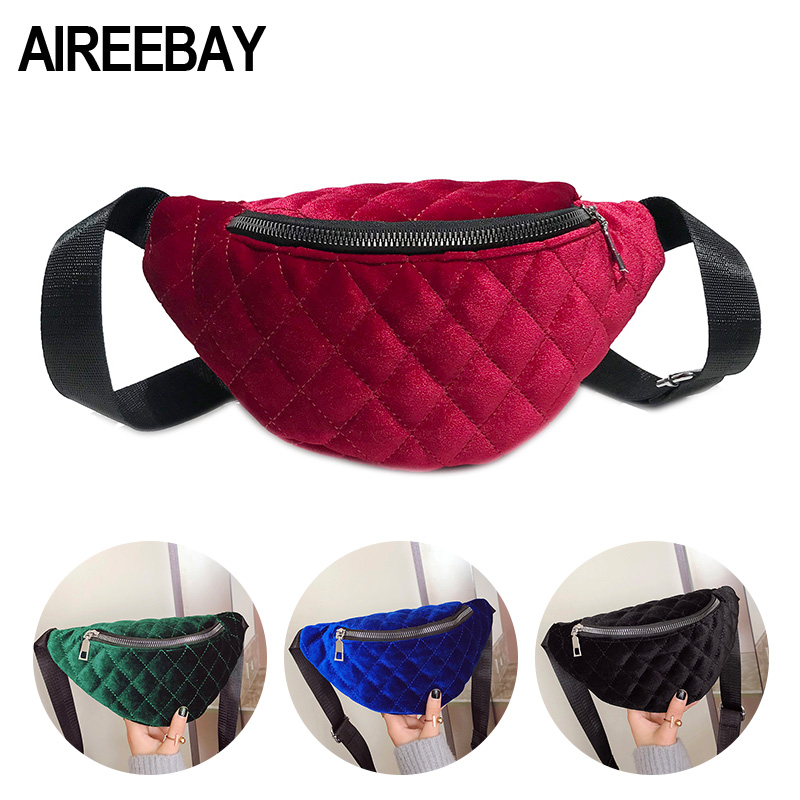 AIREEBAY Women Velvet Fanny Pack 2019 Brand Fashion Shoulder Black Chest Bag Lady Red Belly Belt Bag Waist Pack Crossbody Bags