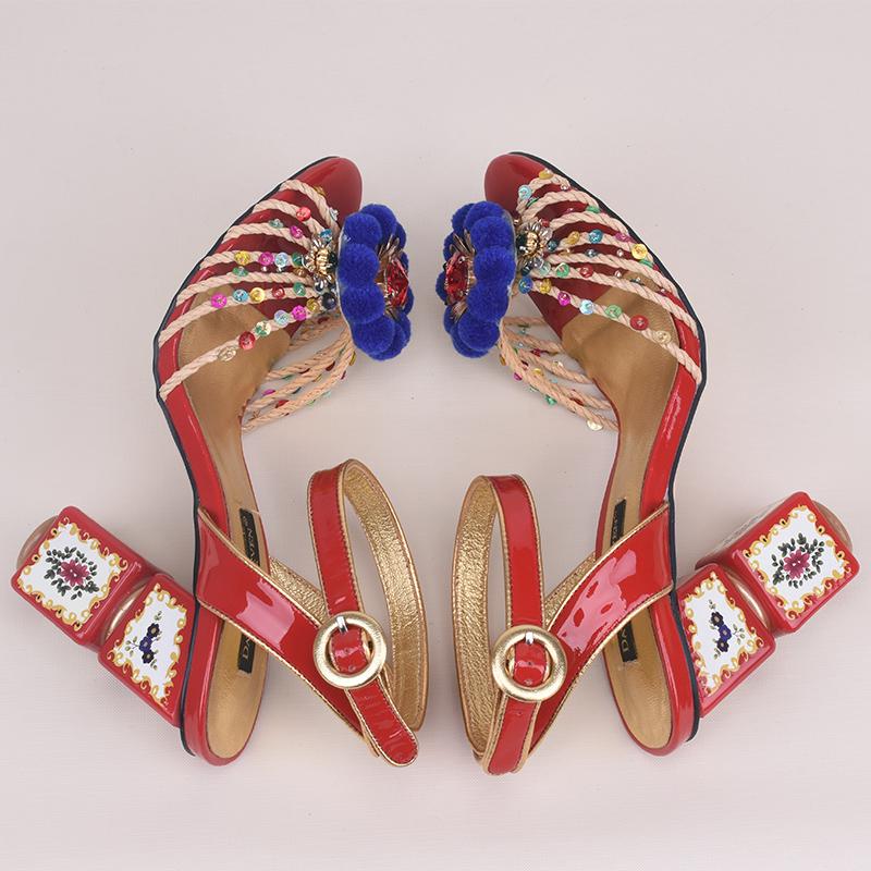 029e3b6ca0c83 New Luxury Print Flower Mahjong heel Women Sandal Mixed Colors Open ...
