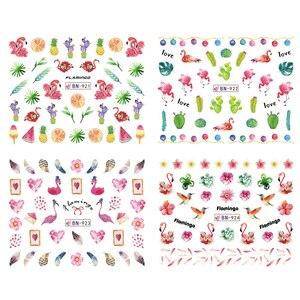 Image 4 - 12 デザインフラミンゴネイルステッカー水花緑色植物スライダー装飾ネイルアートラップマニキュアヒント BEBN913 924