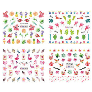 Image 4 - 12 Design Flamingo Nail Sticker Water Decals Flowers Green Plants Sliders Decorations Nail Art Wraps Manicure Tips BEBN913 924