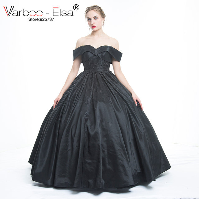 fc4d783027 Elegant Black Ball Gown Sweetheart Neck off shoulder Beading Formal Evening  Gowns Dresses Satin Evening Dress