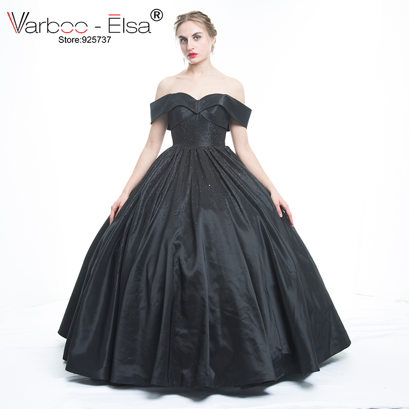 d7dd670fb5e Robe De bal noire élégante chérie cou hors épaule perles robes De soirée formelles  robes robe De soirée en Satin Vestido De Noiva dans Robes De Soirée de ...