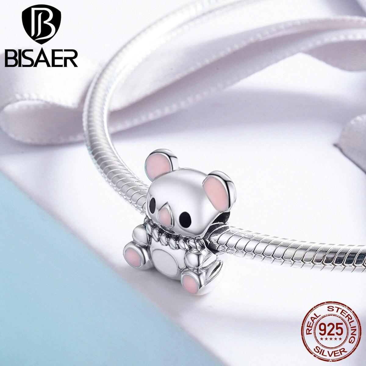 Genuine 100% 925 Sterling Silver I Love Sleeping Cute Australia Koala Beads Fit Charms Silver 925 Original Bracelet Jewelry