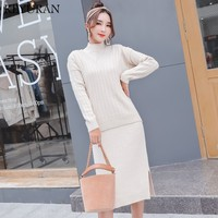 2018 Two Piece Set Winter Sweater Suit for Women Sets V Neck Pullover Wool Sweater + Turtleneck Elastic Knit Dress Suit Female