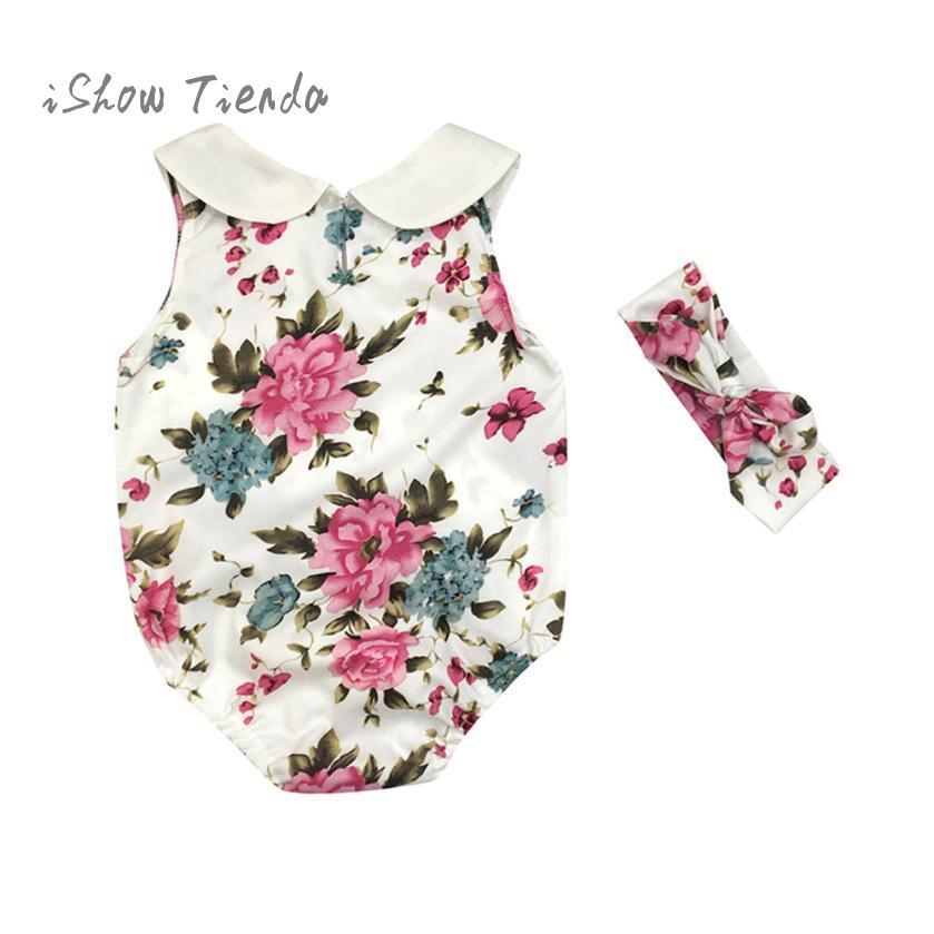 2PC Newborn Infant Baby Girl Floral Romper Jumpsuit Sunsuit+Headband Set Outfits