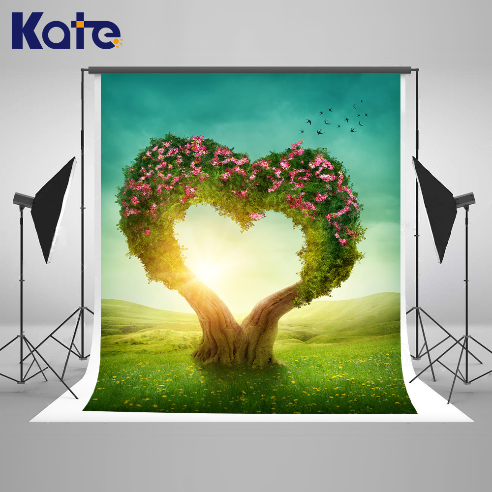 10X10FT Kate Scenic Photography Backgrounds Heart-Shaped Tree Spring Scenic Backdrops Grassland Wedding Photography Backgrounds 10x10ft kate spring scenery photography