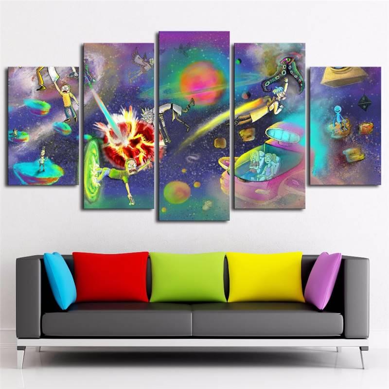 ộ_ộ ༽Arte de la pared de la lona pintura abstracta 5 panel Rick y ...