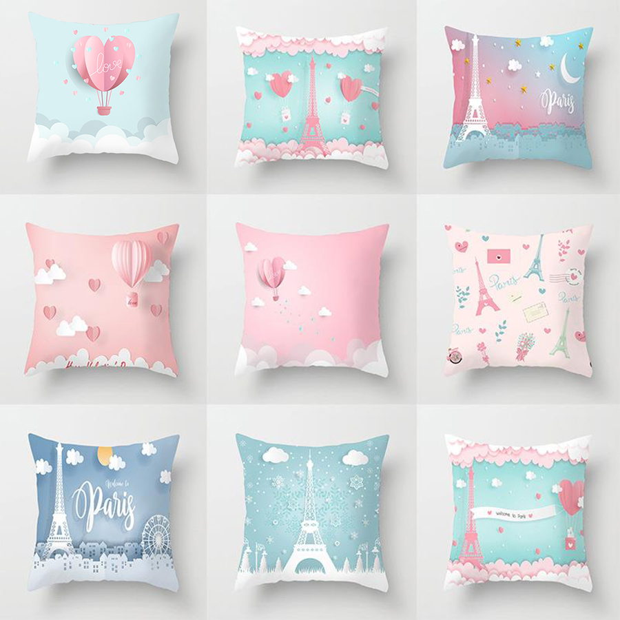 Elife Wedding Gift Tower Pairs Love Cushion Cover Polyester  For Sofa Car Throw Pillows Case Home Bedroom Decoration 45x45CM