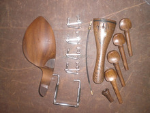 1 Set Wenge wood Violin parts with tail piece chin rest pegs fine tuner tail gut and clamp 4/4