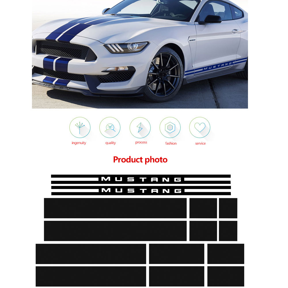 1Set Car Hood Roof Engine Rear Side Stripes Car Sticker Body Kit Decal Decoration for Ford Mustang 2015 2017