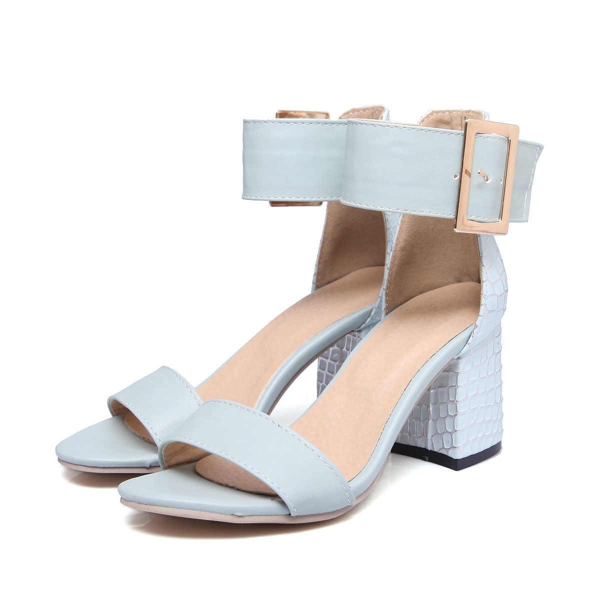 LDHZXC Kadınlar Sandal Kare Yüksek Topuk Platformu 2019 yeni Kadın Ayakkabı Slingback Peep Toe PU Deri Bayan Düğün Ayakkabı kadın