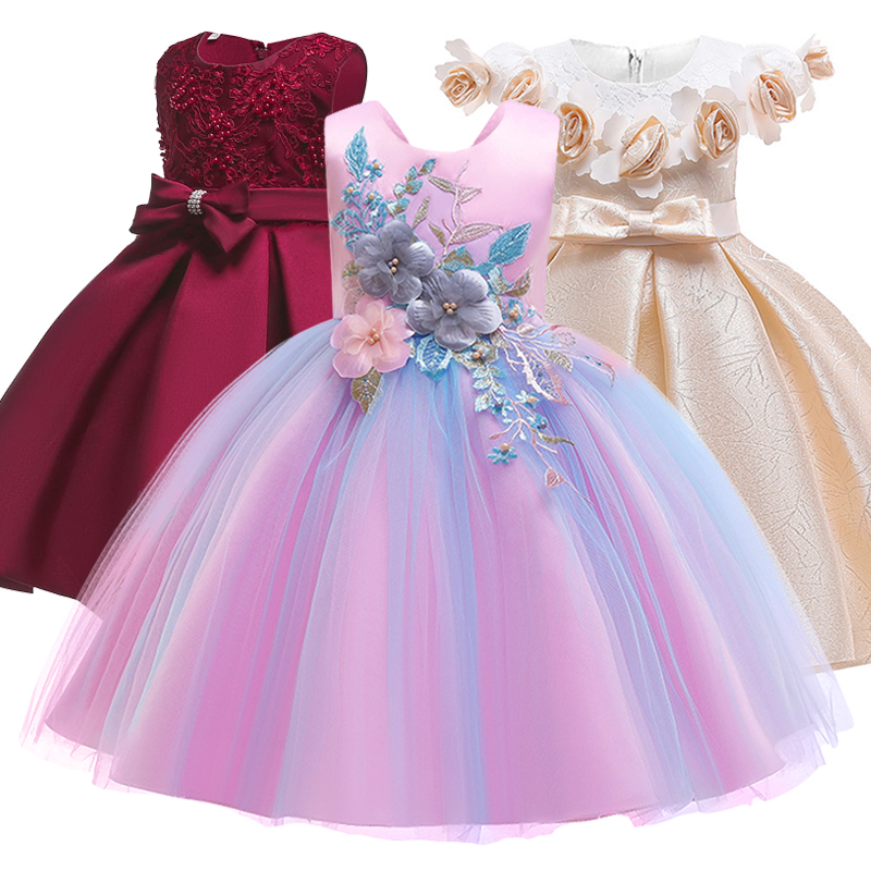 New pattern Girls Birthday Wedding Party Pageant Long Princess Dress Kid Christmas Costume ...