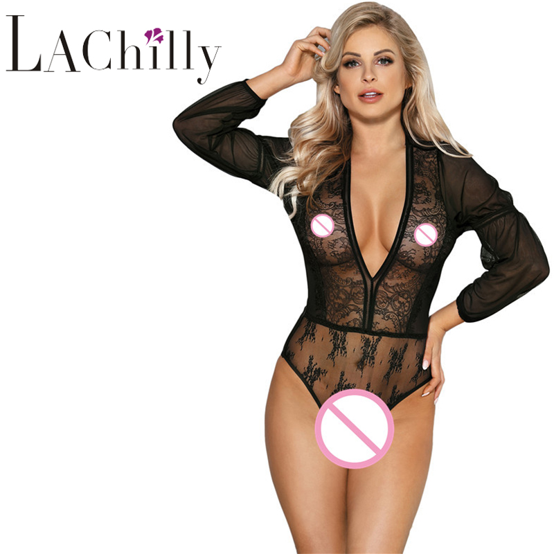Sexy Lingerie Hot Women Body Catsuit Long Sleeve Sexy Deep V Neck Lace Mesh Plus Size Bodysuit RS80542 Mameluco Mujer