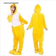 Women Men Yellow Duck Kigurumi Pajamas Onesie Adult Cartoon Animal Cosplay Costume Homewear Halloween Christmas Hooded
