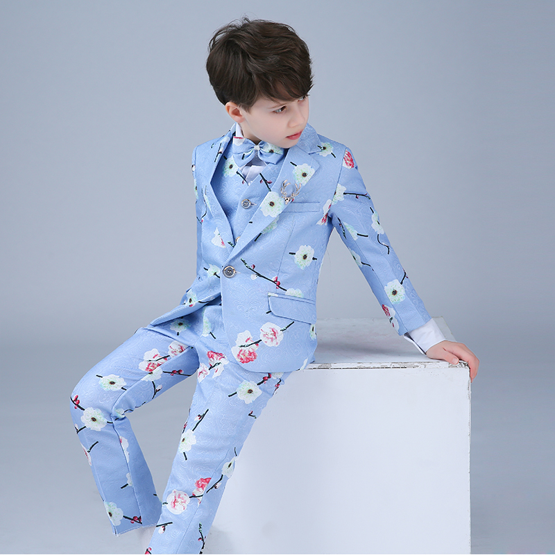 Boys suit suit 2018 new spring and autumn flower girl dress baby print small suit wedding ball formal wedding dress boy suit 2018 spring new style korean version of the white suit of the boy children s small suit flower girl dress boy presided over