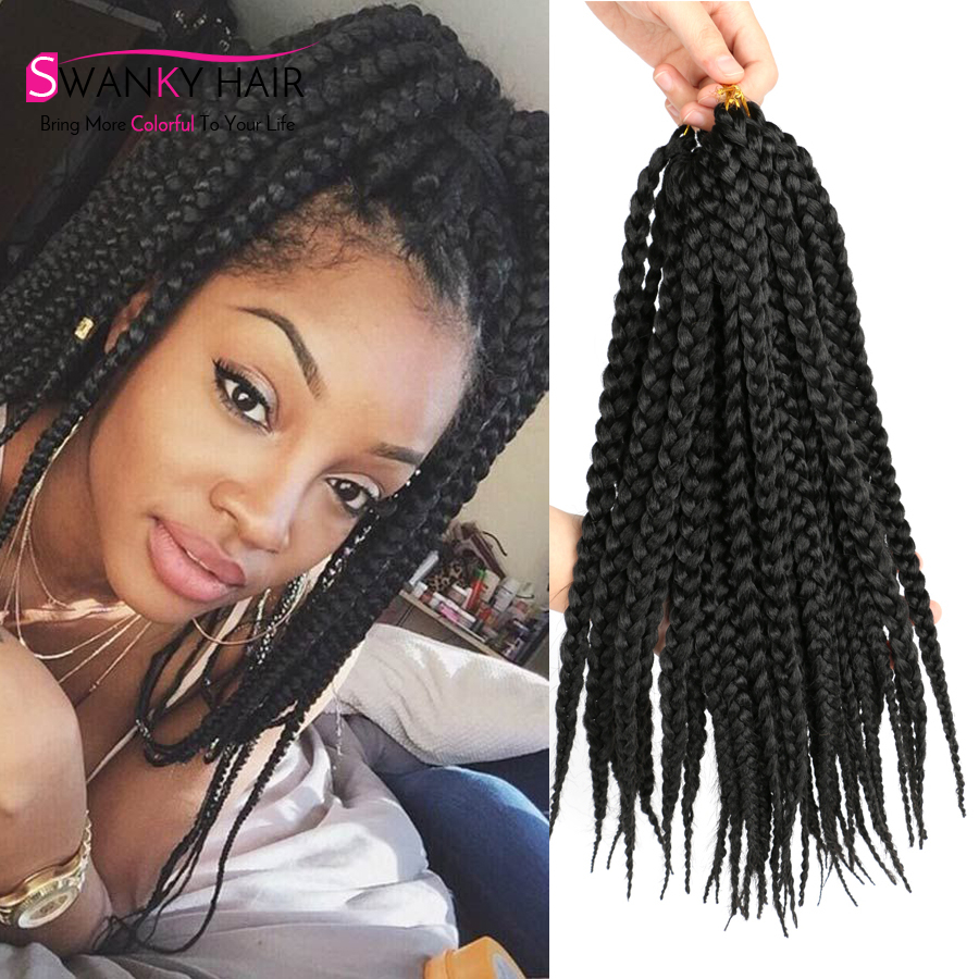 14 Inch Micro Box Braids Hair 3s Pre Twisted Braids Afro Medium