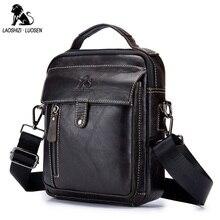 LAOSHIZI LUOSEN Genuine Leather Men Shoulder Bag Handbag Cowhide Zipper Messenger Bags Vintage Fashion Male