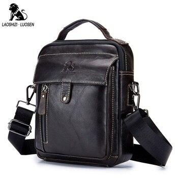 LAOSHIZI LUOSEN Hakiki Deri erkek omuz çantası Çanta Inek Derisi Fermuarlı Erkek postacı çantası Vintage Moda Erkek Çanta