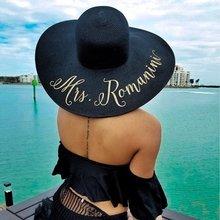 Подгонянные пляжные свадебные шляпы для невесты с блестками, шляпы от солнца для медового месяца, подружки невесты, подружки невесты, девичьи подарки на вечеринку
