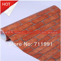 Free shipping retro brick patterns on PVC self adhesive wallpaper paste wallpaper backdrop bedroom balcony