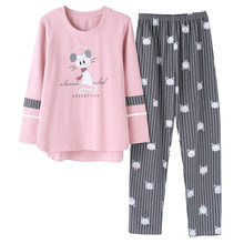 ada4b00ac24f Autumn and winter cotton pajamas women leisure cute cartoonset of large size  fashion Korean version of home clothes suit