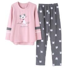 e91c2bf8de72 Autumn and winter cotton pajamas women leisure cute cartoonset of large size  fashion Korean version of home clothes suit