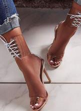 купить Fashion Sexy Transparent Women Sandals Cross Straps High Heel Sandals Summer Open Toe Party Shoes Free Ship онлайн