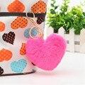 Hot selling 8CM Length Lovely Heart Shape Rabbit Fur Ball Golden Cell Phone Car Keychain Pendant Handbag PomPom Charm Key Ring